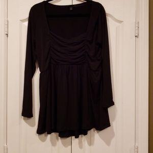 Torrid black ruched blouse, long sleeves